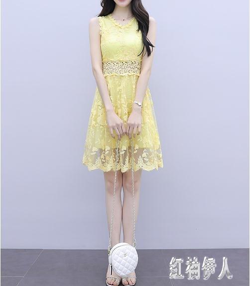 很仙的法國小眾連身裙仙女超仙甜美2020流行夏天無袖性感蕾絲洋裝 yu13877『紅袖伊人』