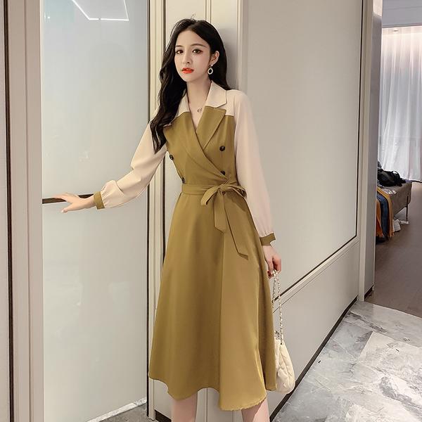 超殺出清 韓國風名媛長版收腰紐扣拼接撞色長袖洋裝