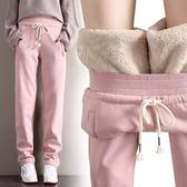 運動褲 冬季羊羔絨加絨加厚運動褲直筒寬松大碼保暖休閒闊腿暖暖褲衛褲 巴黎春天