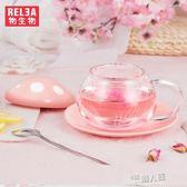 陶瓷玻璃杯女 水杯韓版學生韓國創意潮流過濾可愛花茶杯子  9號潮人館