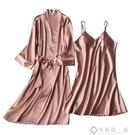 睡裙夏季薄款睡衣女性感吊帶睡袍兩件套家居...