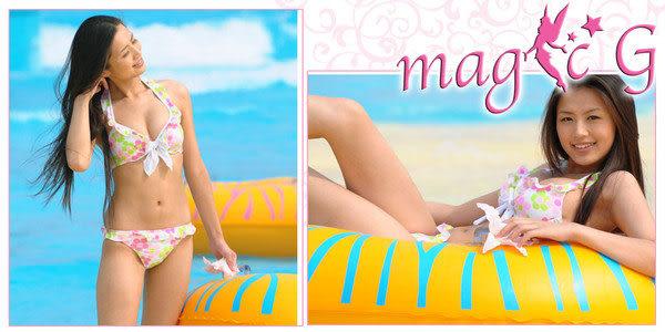 ☆ 橘魔法↗magic G☆ 日系浪漫荷葉邊白粉花朵款【鋼圈爆乳深V】繞頸綁帶泳衣三件式