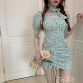 方領格子泡泡袖包臀洋裝2020新款法式氣質短裙夏季緊身仙女裙子 米娜小鋪