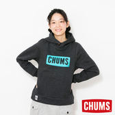 CHUMS 日本 女 LOGO 連帽套頭衫 帽T 霧黑 CH101085K006