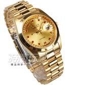 OMAX 閃耀時尚 城市圓錶 金色不銹鋼帶 藍寶石水晶 鑽錶 男錶 日期視窗 OM4002R全金大