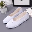 一字牌平底護士鞋透氣白色小白鞋夏季舒適防滑工作鞋女士美容師鞋 【端午節特惠】