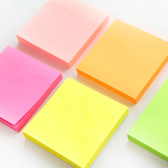 ✭米菈生活館✭【P194】螢光100張便利貼 文具 學生 上班族 筆記 可撕 便簽 紙膠帶 黏貼