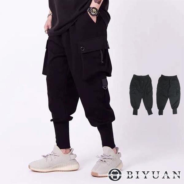 【OBIYUAN】忍者褲 縮口褲 高品質定製款 休閒長褲 素面 多口袋 彈力【X3801】