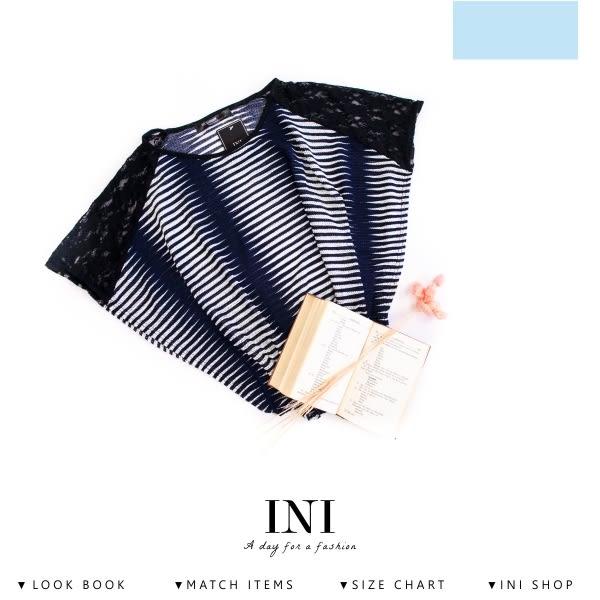 【INI】唯美修飾、透膚蕾絲編織設計上衣.藍色