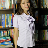【S-42EF-1】森奈健-優雅成熟OL吸濕排汗領口綁帶短袖女襯衫(粉紫色)