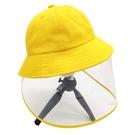 防護漁夫帽女防飛沫帽子面罩護臉成人遮陽帽防疫防塵兒童帽子同款 快速出貨 快速出貨