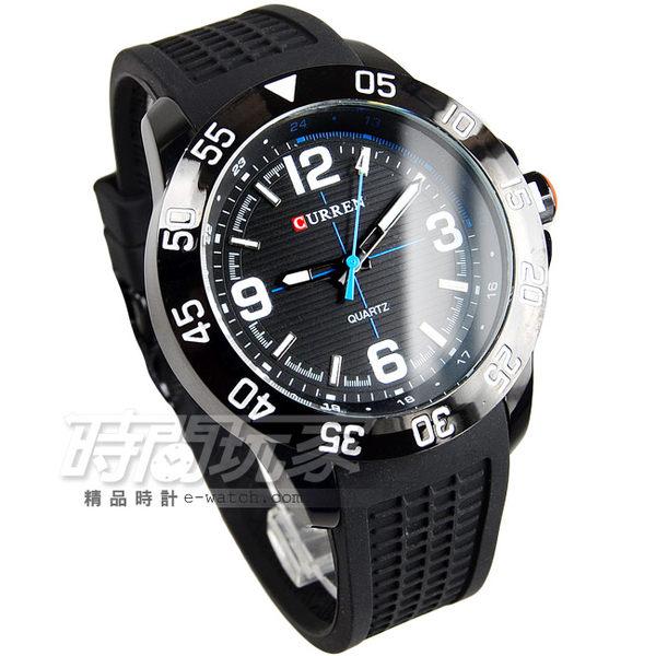 CURREN 賽車潮男時尚腕錶 男錶 大錶盤 飛行錶 學生錶 數字錶 橡膠錶帶 CU8181IP黑