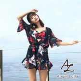 比基尼泳裝-日本品牌AngelLuna 日本直送 黑白印花連身褲三件式溫泉沙灘泳衣