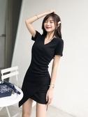 性感連衣裙女秋黑色v領顯瘦修身裙子