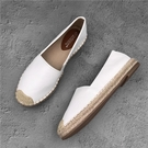草編鞋 小香風漁夫鞋女春季新款平底鞋小白單鞋秋草編一腳蹬樂福鞋-Ballet朵朵