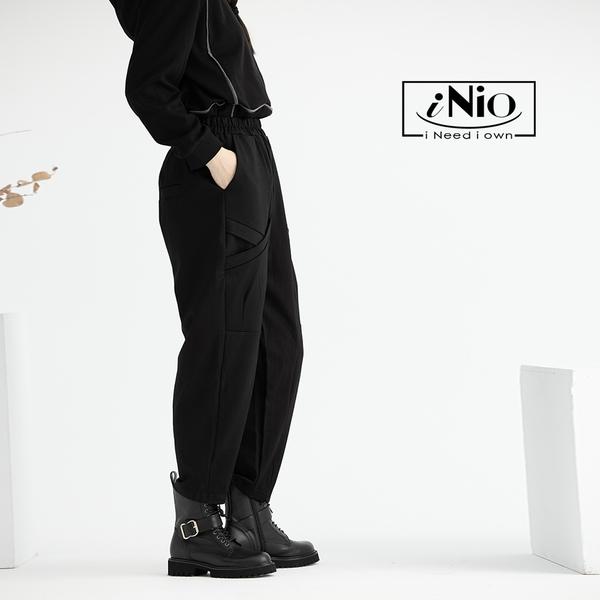 時尚窄管鬆緊腰飛鼠哈倫褲休閒長褲-現貨快出【C0W2168】 iNio 衣著美學