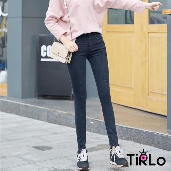 牛仔褲 -Tirlo-前車線褲腳不規則小腳牛仔褲-兩色/S-XL(現+追加預計5-7工作天出貨)