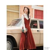 法式純色收腰條紋v領復古絲絨吊帶洋裝女長款過膝怦然心動