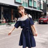 短袖洋裝 蕾絲 鏤空 花邊領 拼接 短袖 洋裝 連身裙【NDF6299】 ENTER  05/10