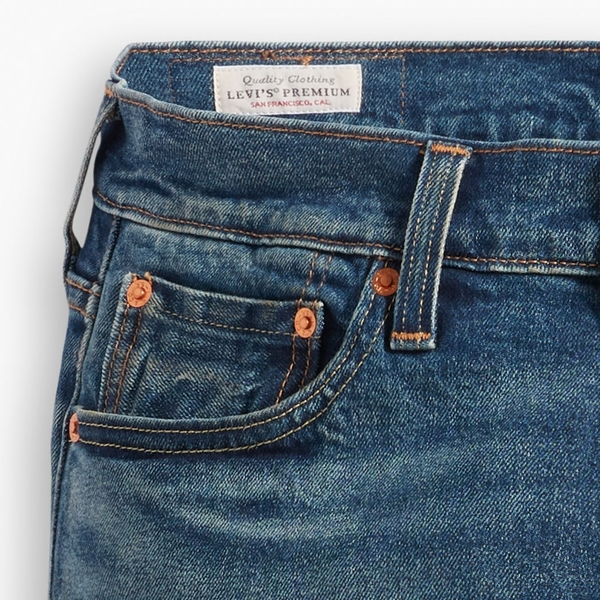 Levis 男款 511 低腰修身窄管牛仔褲 / 赤耳 / 深藍刷白 / 彈性布料