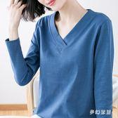 大尺碼T恤女 春裝新款韓版寬鬆胖mmV領竹節棉長袖打底衫 FR4652『夢幻家居』
