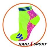 [JIANI SPORT]MST檢驗款/重壓型 超馬慢跑短襪/JS15/螢光黃粉/不起水泡專業襪/慢跑/超馬/三鐵/久站/球類