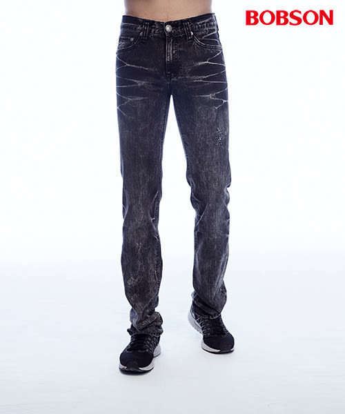 【BOBSON】男款抓摺雪花直筒褲(黑灰87)