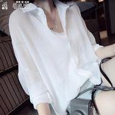 襯衫女夏季薄款襯衫女韓范雪紡外搭上衣寬鬆襯衣防曬衣百搭顯瘦 DM