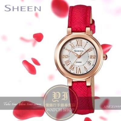 CASIO日本卡西歐Sheen玫瑰花語羅馬時標時尚腕錶SHE-4029PGL-7A公司貨/少女時代秀英配戴款