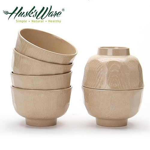 【南紡購物中心】【美國Husk's ware】稻殼天然無毒環保日式餐碗(6入)