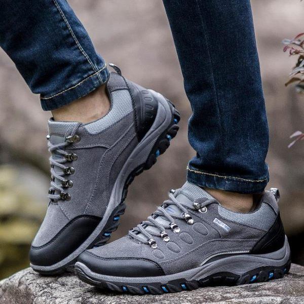 登山鞋男冬季戶外鞋男士休閒運動鞋厚底男鞋低筒越野鞋保暖旅游鞋