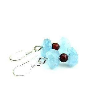天然深水海藍寶 耳飾