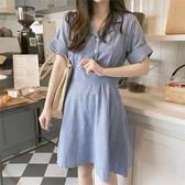 小清新裙子夏西裝領條紋襯衫裙棉麻連身裙