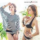 韓版比基尼三件套防曬罩衫 分體泳衣黑白拼接
