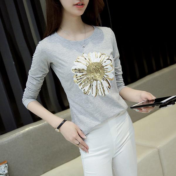 *魔法之城*F14916新款純棉亮片花朵長袖T恤女秋裝修身顯瘦薄上衣