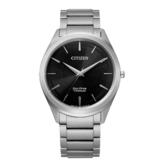 CITIZEN GENT'S光動能鈦金屬職場時尚腕錶-銀X黑
