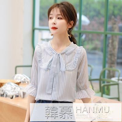 雪紡衫女洋氣短袖2021春夏新款條紋襯衫很仙的心機上衣超仙設計感 夏季新品