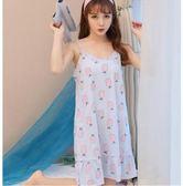 韓版吊帶睡裙女夏季純棉薄款V領性感可愛甜美 sxx651 【衣好月圓】