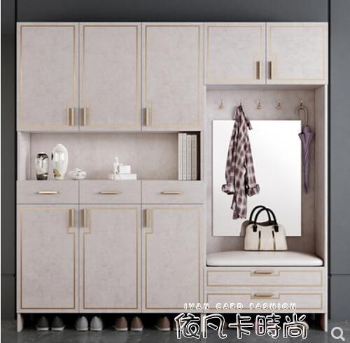 歐式玄關鞋櫃簡約現代門廳櫃家用進門衣帽櫃客廳走廊櫃陽台儲物櫃QM 依凡卡時尚
