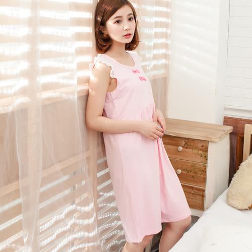 睡衣透氣蕾絲無袖圓領棉質連身睡衣 -粉-波曼妮亞 5002300