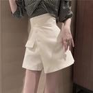 裙褲2021新款高腰不規則斜扣A字短裙女夏季韓版顯瘦西裝半身裙潮  【端午節特惠】