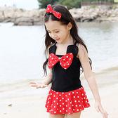 女童波點印象嬰兒童游泳裝 寶寶卡通可愛泳衣 qf397【旅行者】