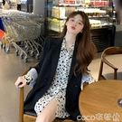 西裝外套 復古港風polo領豹紋襯衫 韓版寬鬆小西裝外套兩件套裝女秋 coco