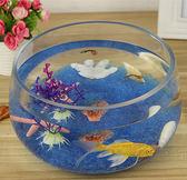 創意水族箱生態圓形玻璃金魚缸 大號烏龜缸 迷你小型造景水培花瓶 igo