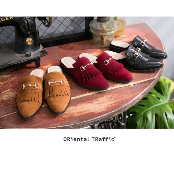 【ORiental TRaffic】經典流蘇金屬釦飾便鞋-嬉皮駝