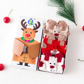 聖誕節交換禮物_3雙入聖誕老人襪禮盒_糜鹿襪禮盒二款任選秋冬中筒棉襪3雙禮盒裝_Nice Bear香奈熊