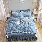 法蘭絨鋪棉床罩組 墨雪 藏藍 高品質 5...