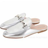 TOD'S Double T 金屬設計牛皮穆勒鞋(女鞋/銀色) 1930226-30