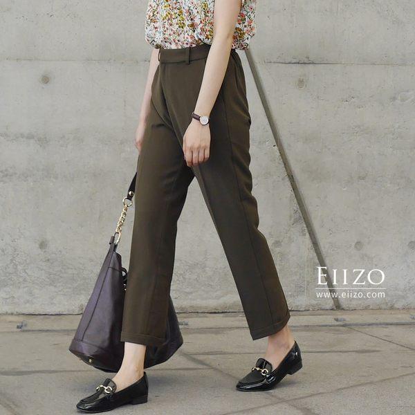 【EIIZO】修身反折西裝褲  (   墨綠 )