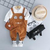 寶寶秋裝男一歲 嬰兒衣服潮款新生兒春秋背帶褲連體衣兩件套裝 交換禮物